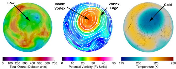 Map of NH total ozone, potential vorticity, and temperature on 2011-02-22