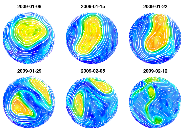 Map of NH potential vorticity on 2009-01-08, 2009-01-15, 2009-01-22, 2009-01-29, 2009-02-05, and 2009-02-12