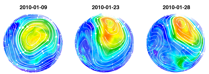 Map of NH potential vorticity on 2010-01-09, 2010-01-23, 2010-01-28