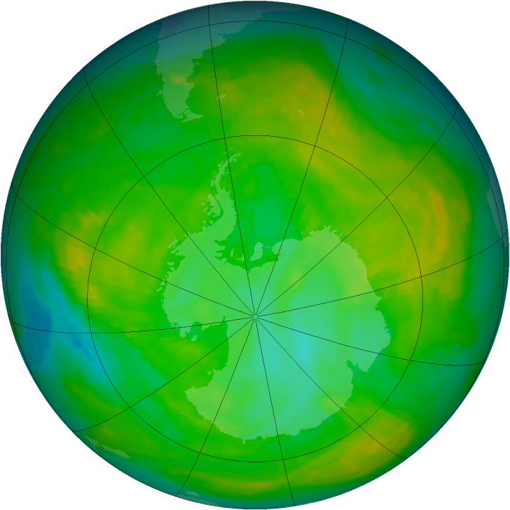 Antarctic ozone map for 01 January 1979
