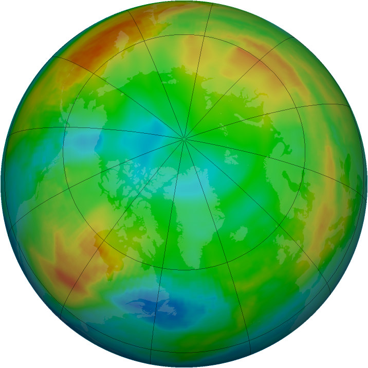 Arctic ozone map for 02 January 1979