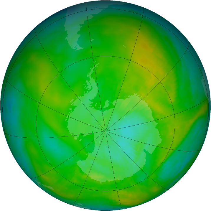 Antarctic ozone map for 03 January 1979