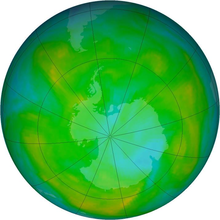 Antarctic ozone map for 10 January 1979