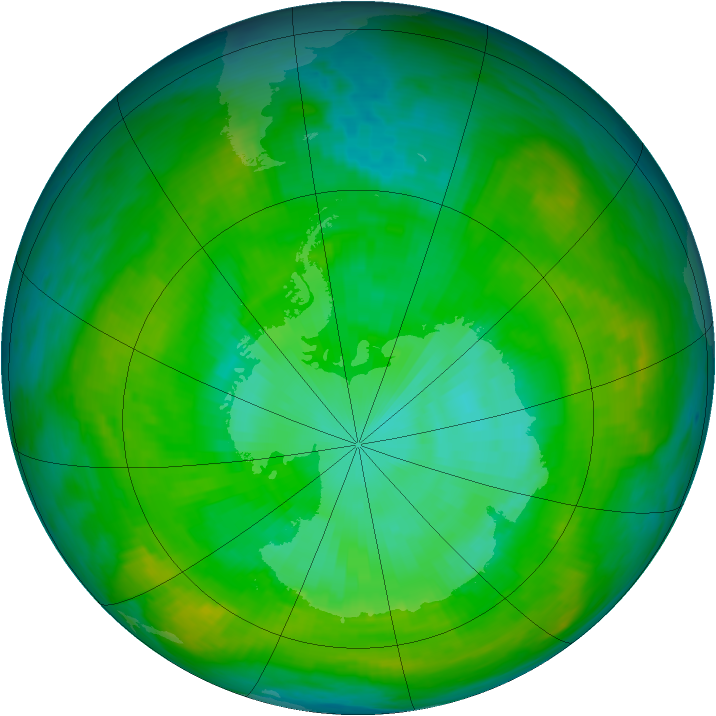 Antarctic ozone map for 13 January 1979