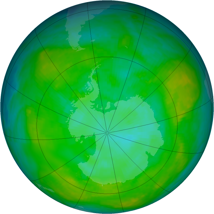 Antarctic ozone map for 15 January 1979