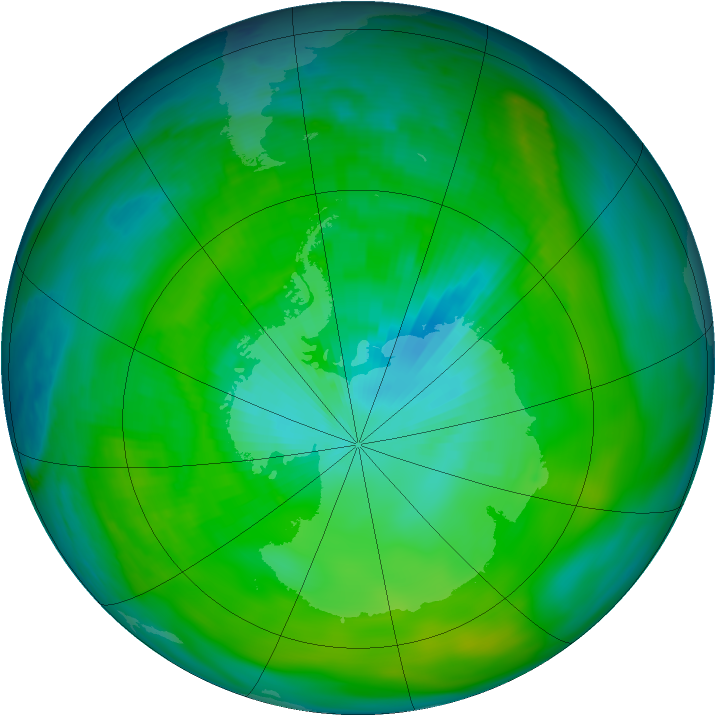 Antarctic ozone map for 22 January 1979