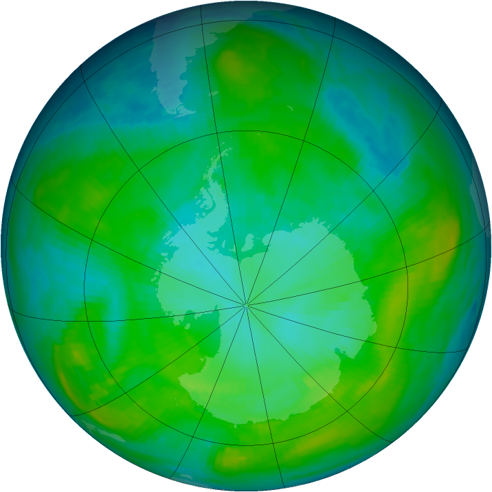 Antarctic ozone map for 29 January 1979