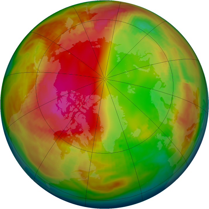 Arctic ozone map for 31 January 1979