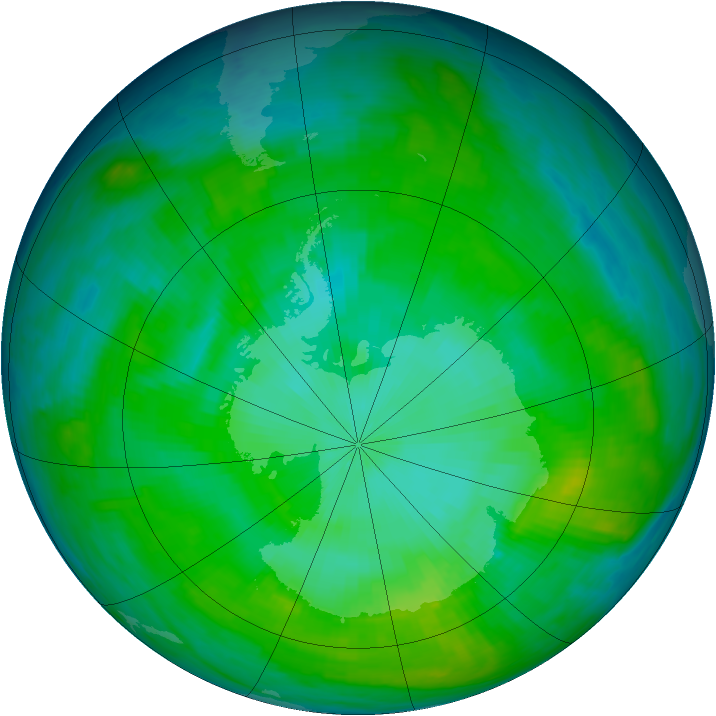 Antarctic ozone map for 31 January 1979