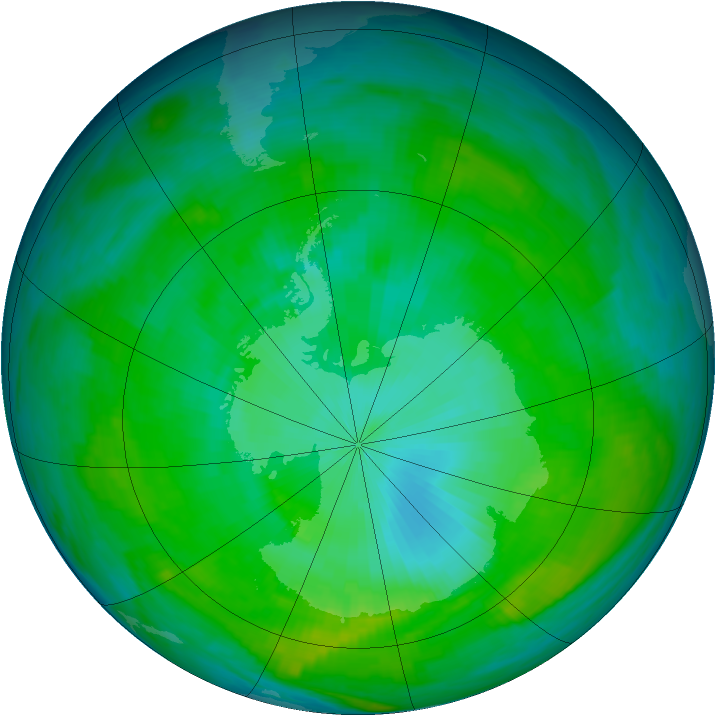 Antarctic ozone map for 02 February 1979
