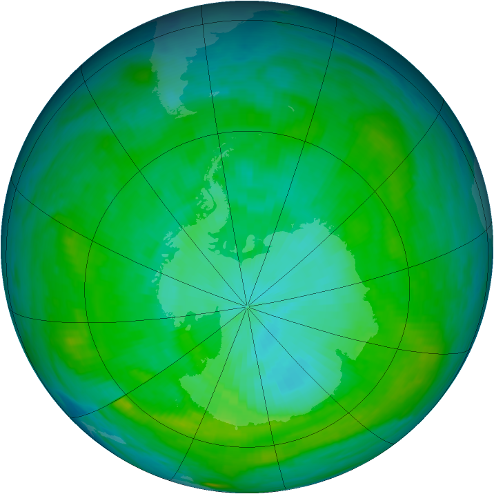 Antarctic ozone map for 03 February 1979