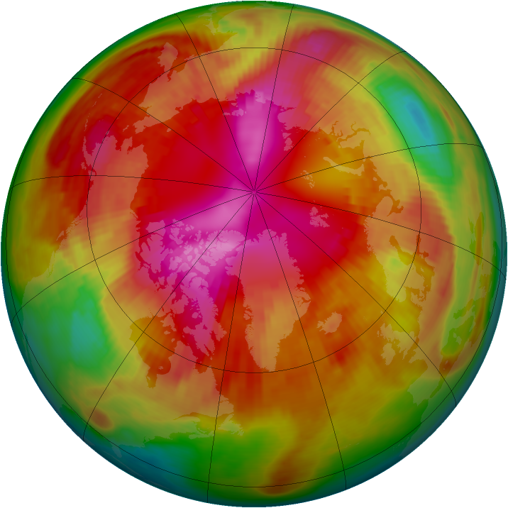 Arctic ozone map for 25 February 1979