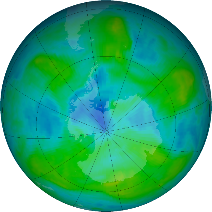 Antarctic ozone map for 01 March 1979