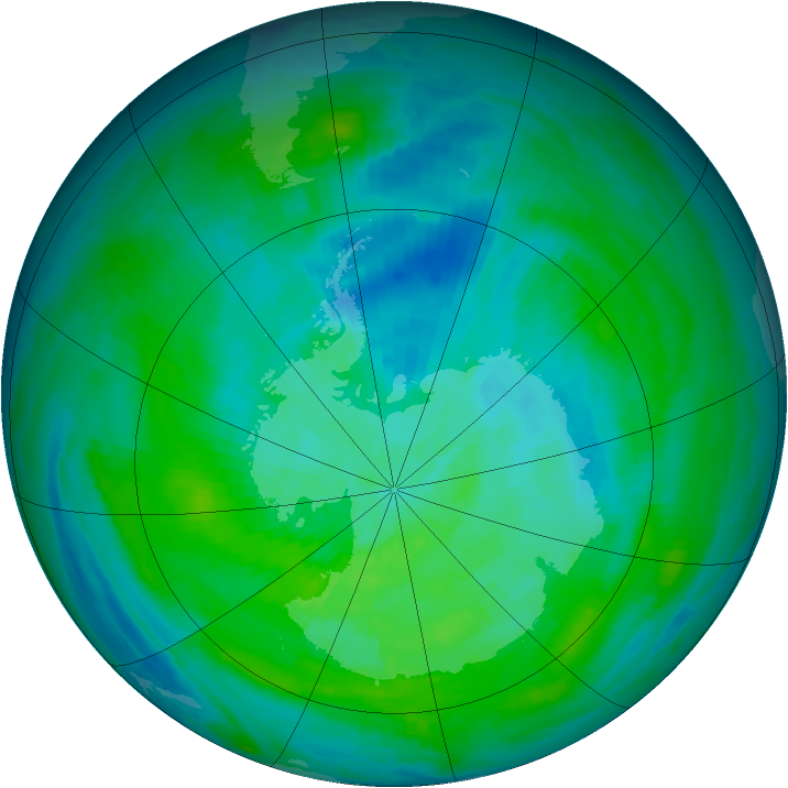 Antarctic ozone map for 07 March 1979
