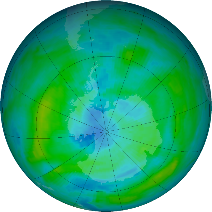 Antarctic ozone map for 16 March 1979