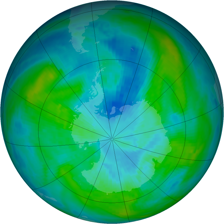 Antarctic ozone map for 25 March 1979