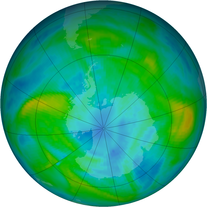 Antarctic ozone map for 01 April 1979