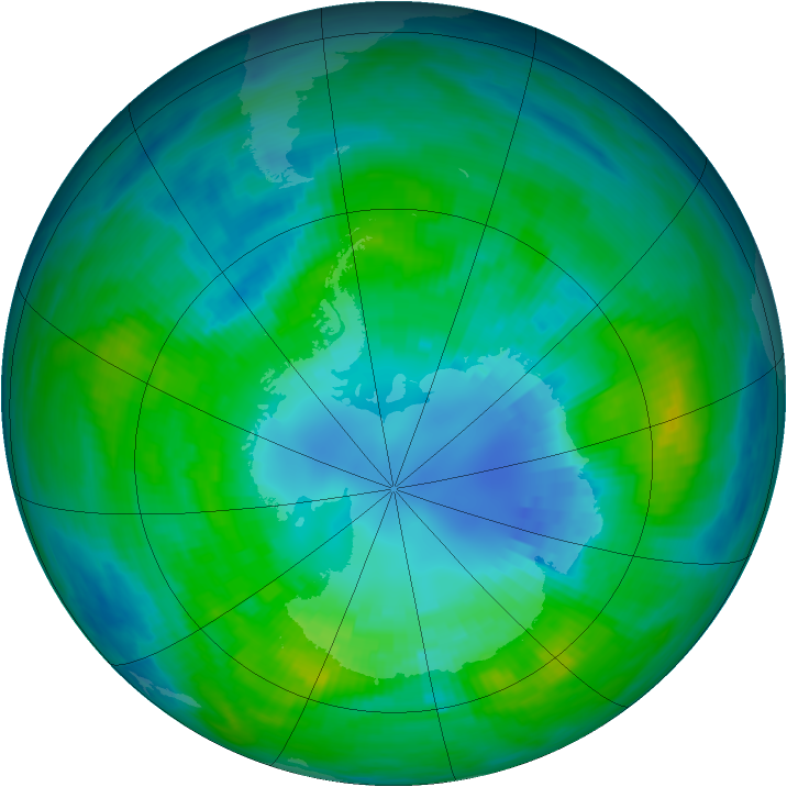 Antarctic ozone map for 11 April 1979