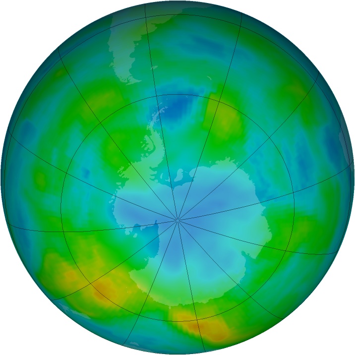 Antarctic ozone map for 30 April 1979
