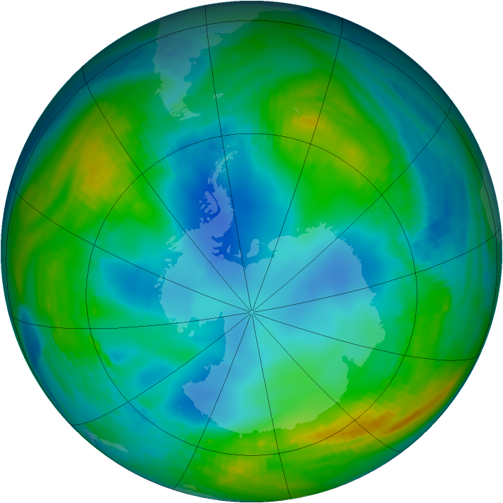 Antarctic ozone map for 25 May 1979