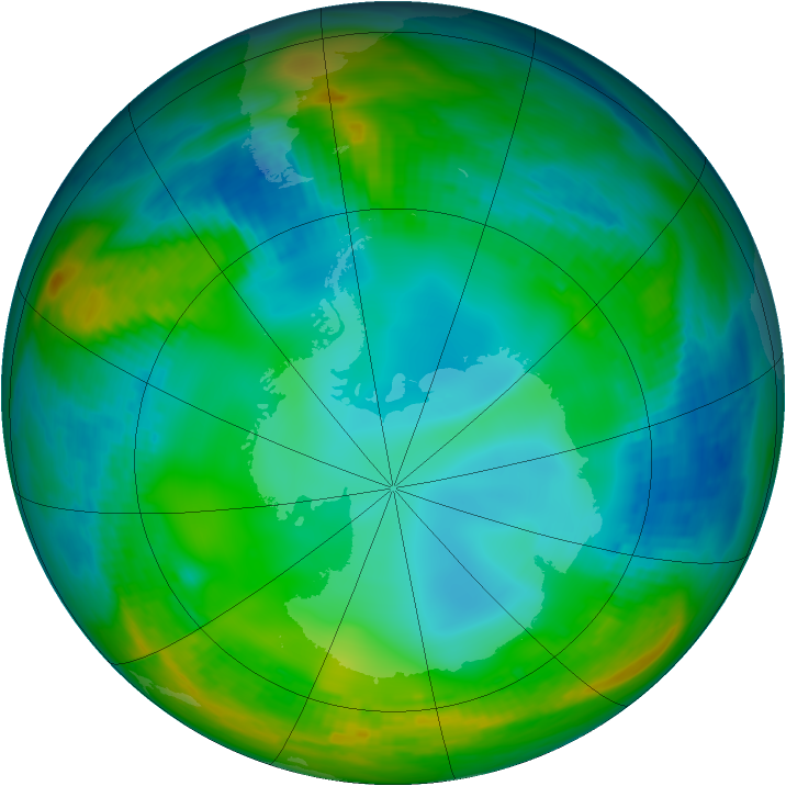 Antarctic ozone map for 29 May 1979