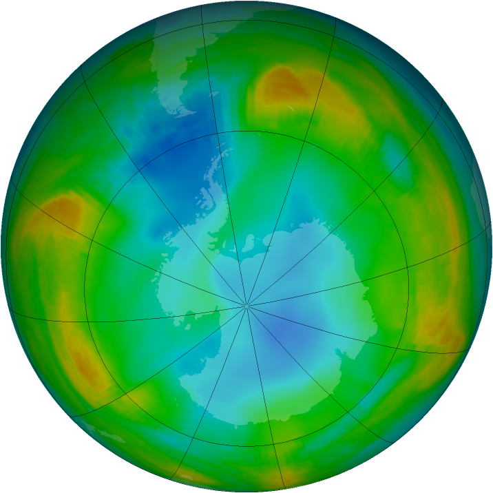 Antarctic ozone map for 29 June 1979