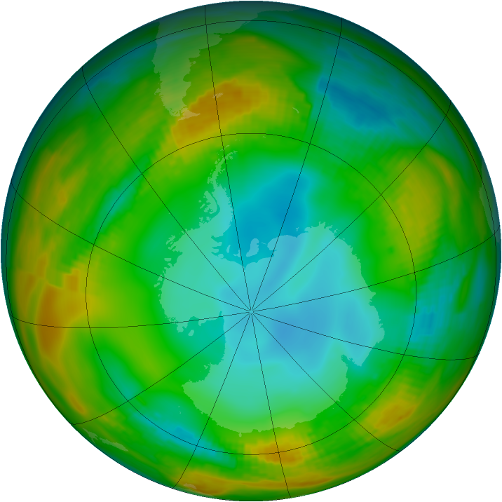 Antarctic ozone map for 22 July 1979