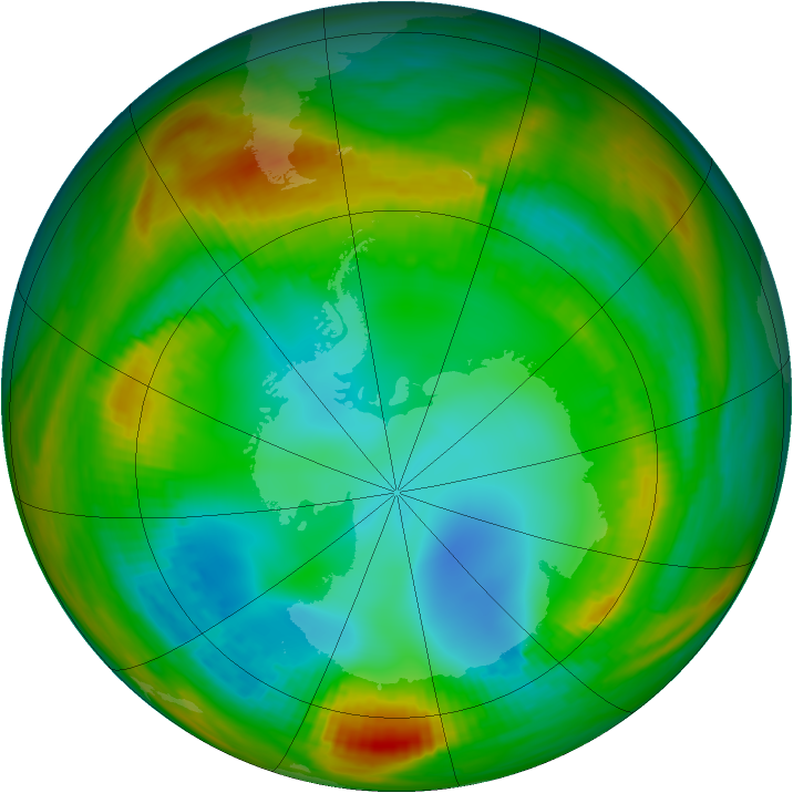 Antarctic ozone map for 30 July 1979