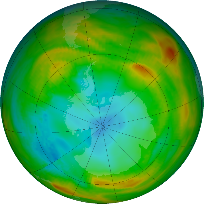 Antarctic ozone map for 02 August 1979