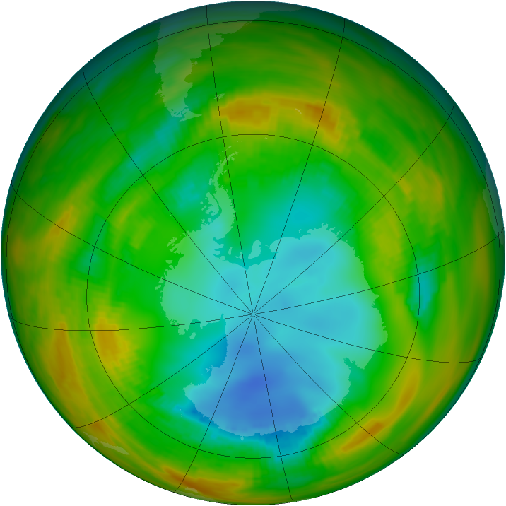 Antarctic ozone map for 10 August 1979