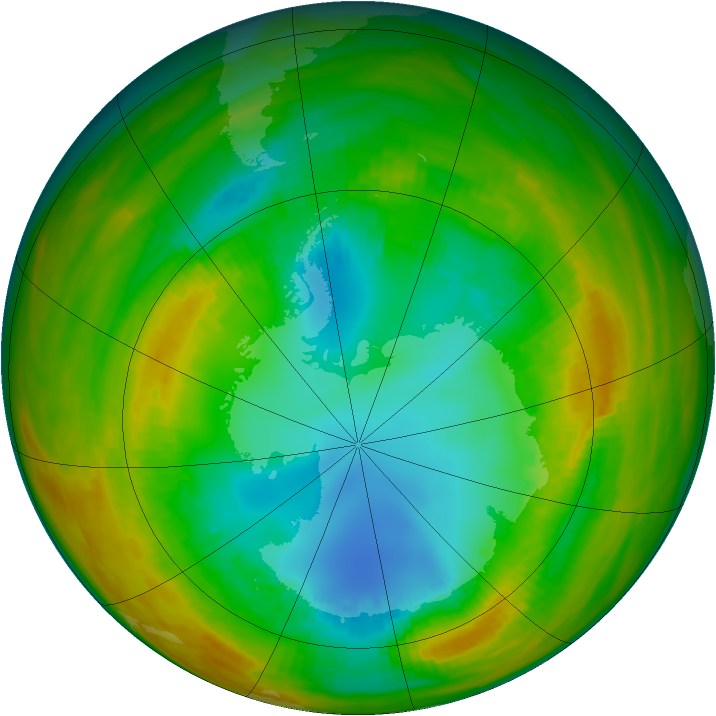 Antarctic ozone map for 12 August 1979
