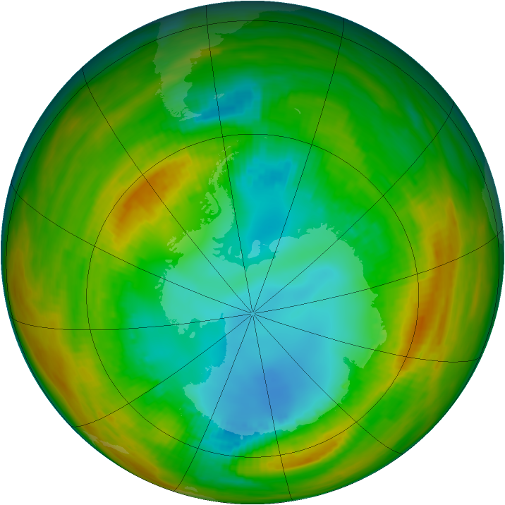 Antarctic ozone map for 13 August 1979