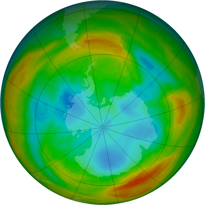Antarctic ozone map for 16 August 1979