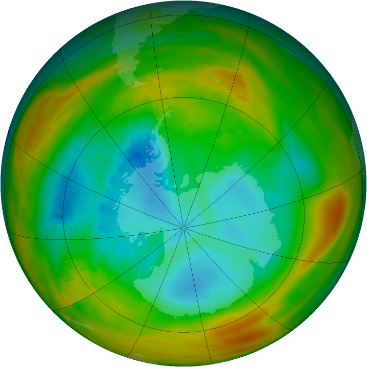 Antarctic ozone map for 17 August 1979