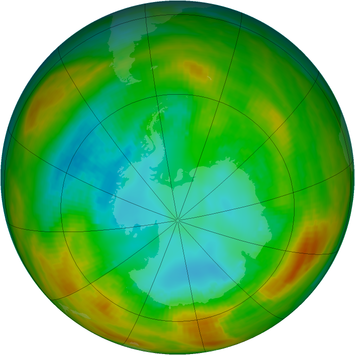 Antarctic ozone map for 18 August 1979