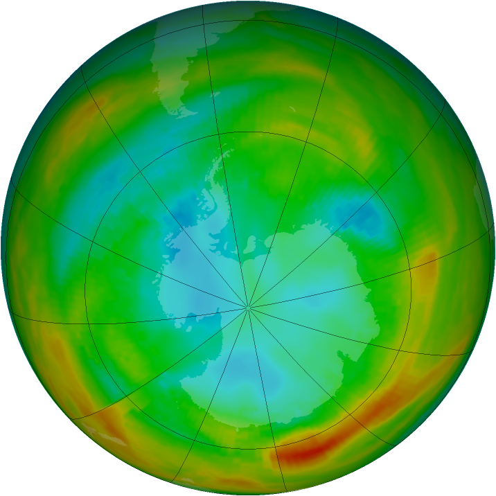 Antarctic ozone map for 19 August 1979