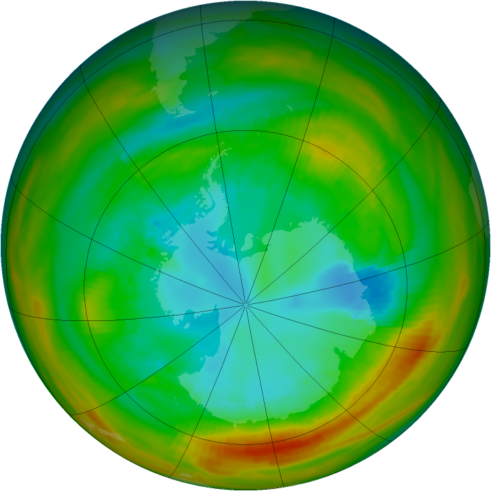 Antarctic ozone map for 20 August 1979