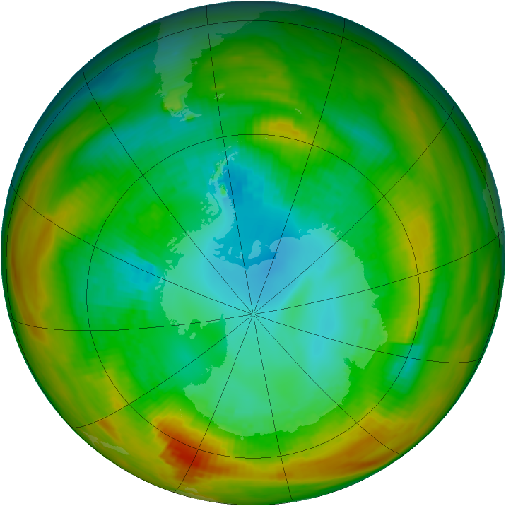 Antarctic ozone map for 22 August 1979