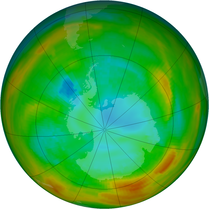 Antarctic ozone map for 24 August 1979
