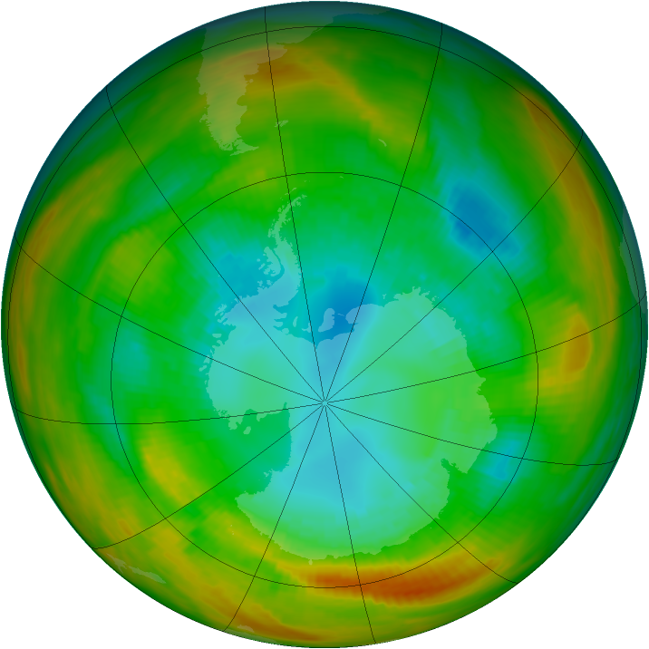 Antarctic ozone map for 28 August 1979