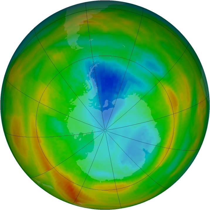 Antarctic ozone map for 31 August 1979
