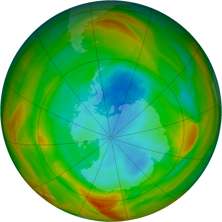 Antarctic ozone map for 03 September 1979