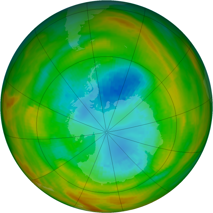 Antarctic ozone map for 04 September 1979