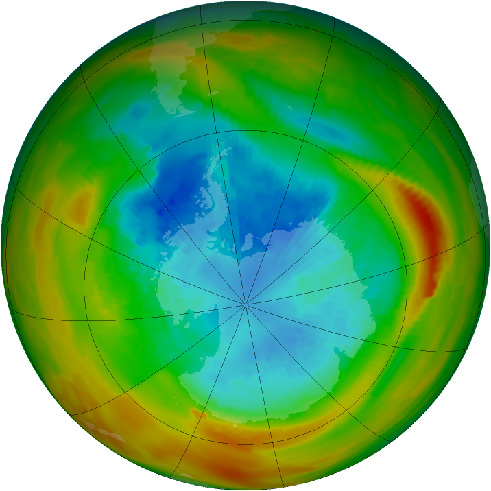 Antarctic ozone map for 16 September 1979