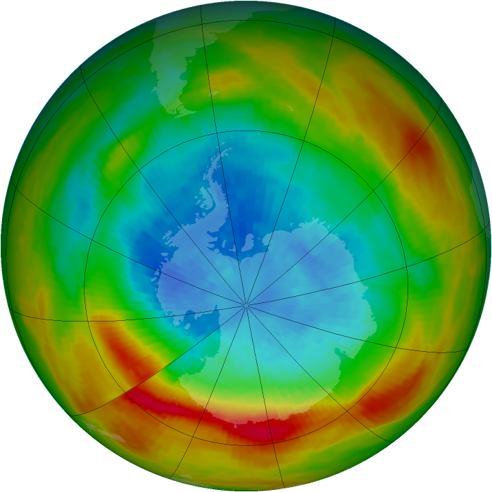 Antarctic ozone map for 21 September 1979