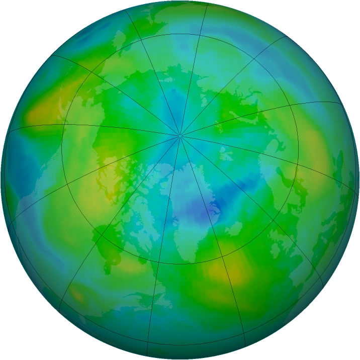 Arctic ozone map for 02 October 1979