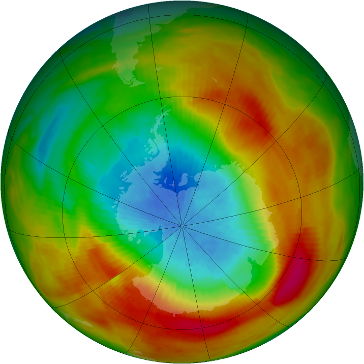 Antarctic ozone map for 10 October 1979
