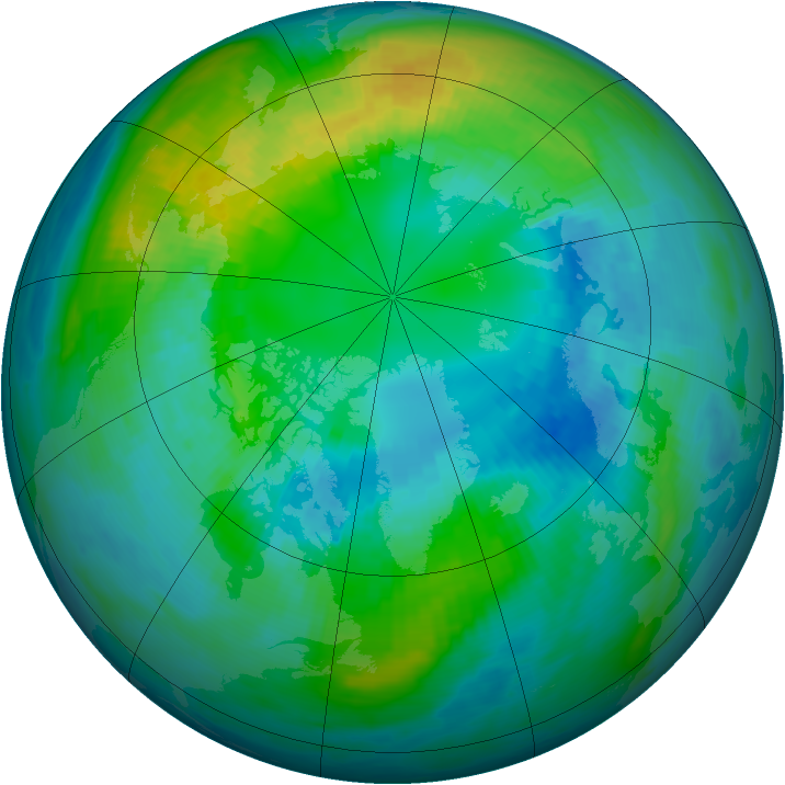 Arctic ozone map for 17 October 1979