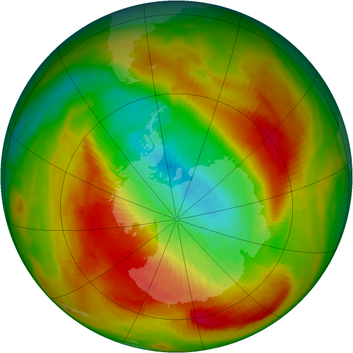 Antarctic ozone map for 22 October 1979