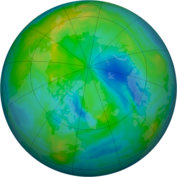 Arctic ozone map for 28 October 1979